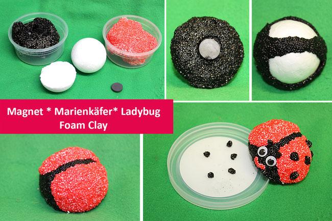 Foam Clay, Glückbsbringer basteln, Wolkenschleim, Neujahr, Glück, Magnet, DIY, lucky, Marienkäfer, Ladybug