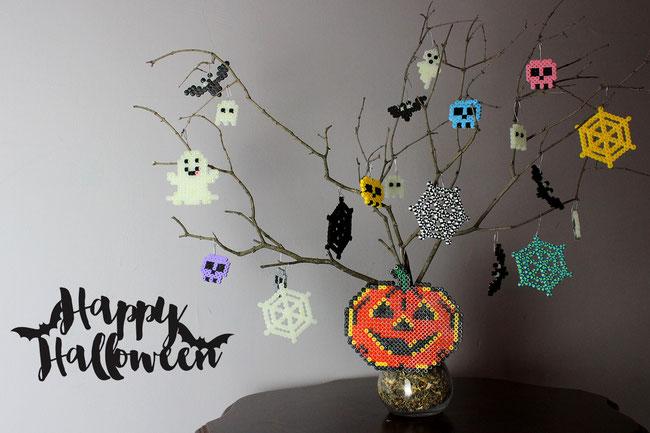 hama, bügelperlen, perler, iron beads, spielwaren-kroell, halloween, ghost, spider, pumkin, bat