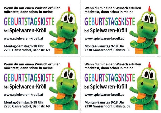 Spielwaren-Kröll - Geburtstagskiste: Info-Sticker für Einladungskarten