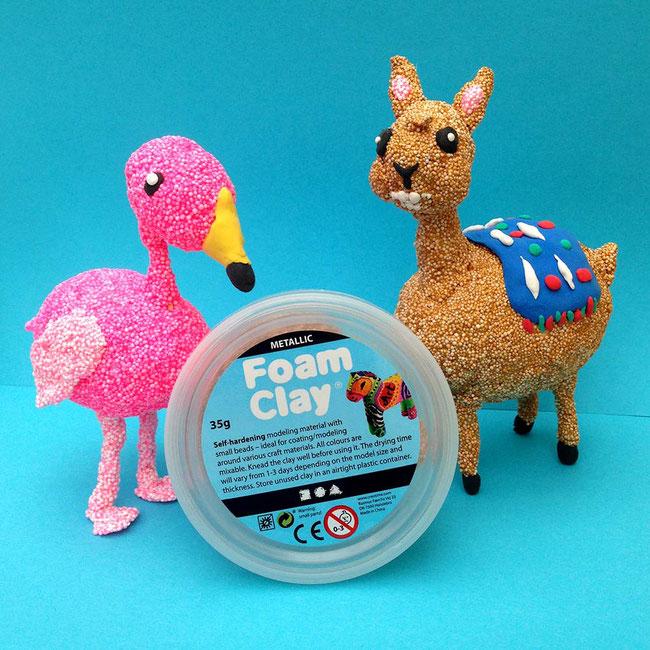Spielwaren-Kroell, Basteln, Bastelideen, Foam Clay, Wolkenschleim, Flamingo, Lama