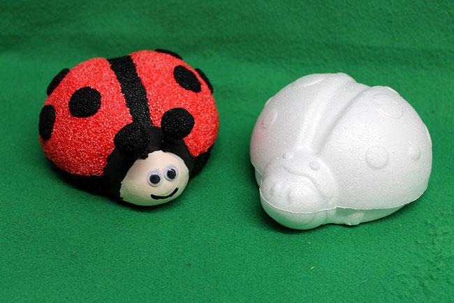 Foam Clay, Glückbsbringer basteln, Wolkenschleim, Neujahr, Glück, DIY, lucky, Marienkäfer, Ladybug, Styropor-Figur