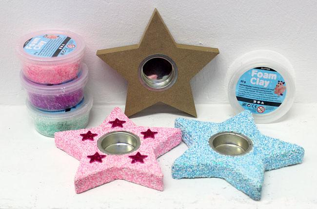 Spielwaren-Kroell, Foam Clay, Wolkenschleim, Bastelidee, Weihnachten, Xmas, Kerzenhalter