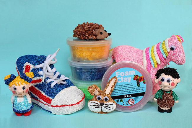 Spielwaren-Kroell, Foam Clay, Wolkenschleim, basteln mit Kindern, Bastelidee, DIY, Figuren,