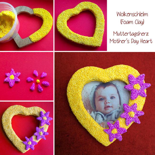 Basteln mit Kindern: Muttertagsgeschenk,Bilderrahmen verzieren mit Foam Clay