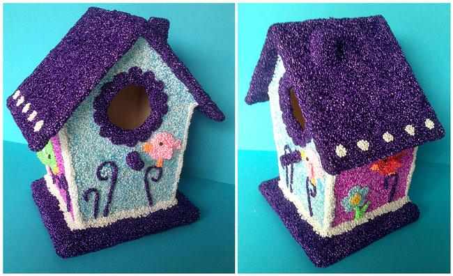 Spielwaren-Kroell, Wolkenschleim, Foam Clay, Basteln mit Kinder, Vogelhaus, bird house