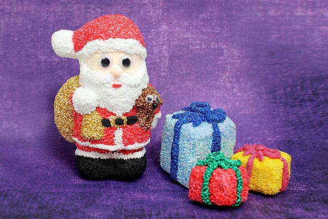 Foam Clay, Wolkenschleim, basteln mit Kindern, Weihnachten, Weichnachtsmann, Xmas, Santa Claus