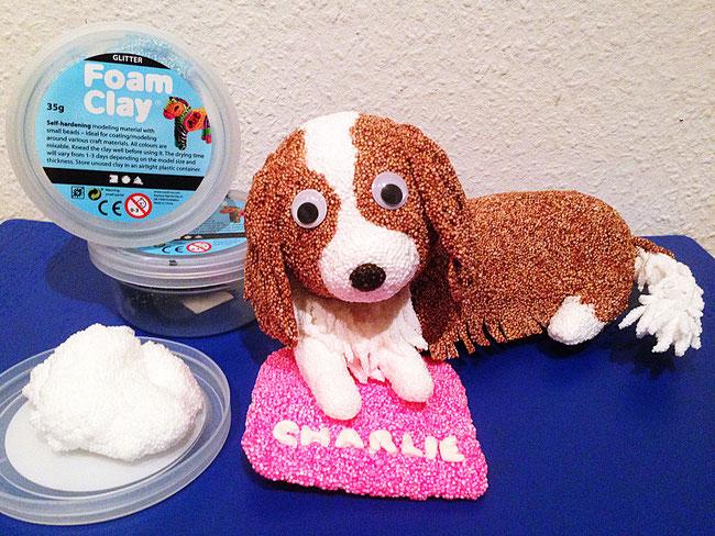 spielwaren-Kroell, Wolkenschleim, Foam Clay, Hund, bastelideen, Cavalier Spaniel, Knete