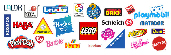 Spielwaren-Kröll: Logos unserer Topmarken - LEGO, Playmobil, Schleich, Haba, Matador, Nerf, Ty, Bruder, Lalok, Kosmos