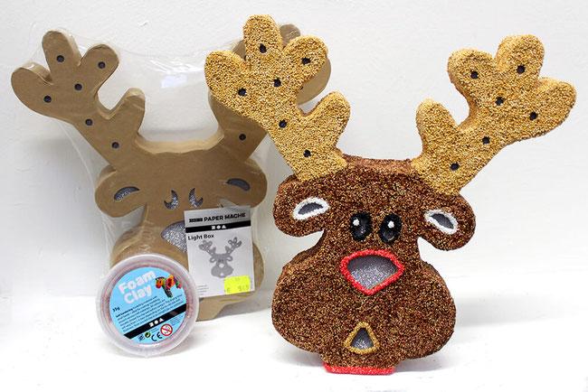 Weihnachtsdeko aus Foam Clay * Wolkenschleim * Weihnachten * Xmas * Basteln mit Kinder * DIY * Light Box * Rentier