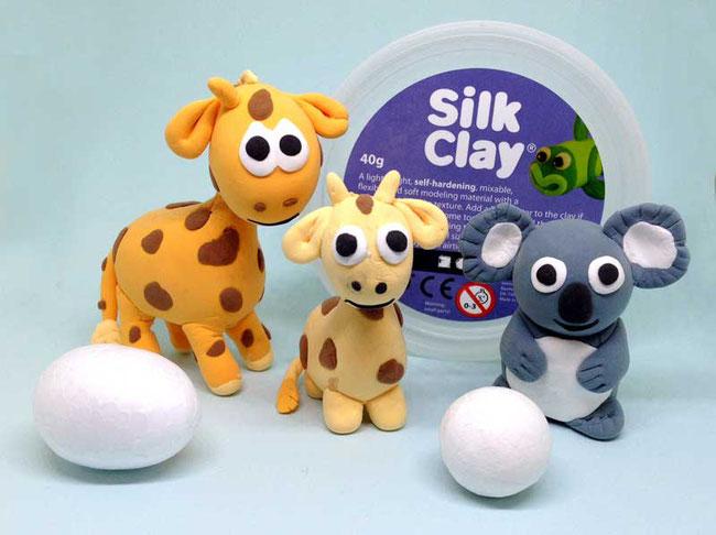 Spielwaren-Kroell, SilkClay, Seidenknete, basteln, Giraffe, Koala