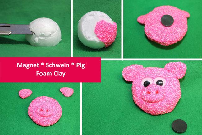 Foam Clay, Glückbsbringer basteln, Wolkenschleim, Neujahr, Glück, Magnet, DIY, lucky, pig, schweinderl