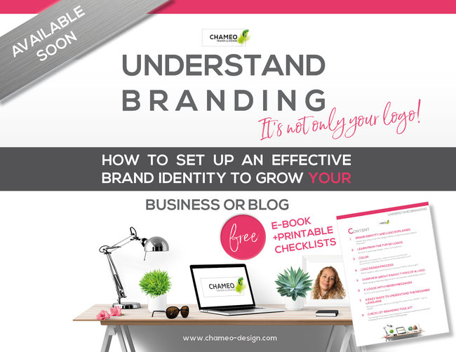 "Load your free ebook to ""Understand Branding"" -How to ser up en effective brand and logo to grow your business & blog. Free printable checklist a chameo-design.com"