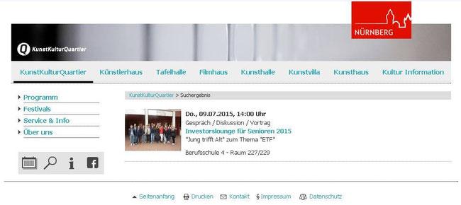 Hinweis auf dem offiziellen Veranstaltungskalender der Stadt Nürnberg (Screenshot vom 07.07.2015)