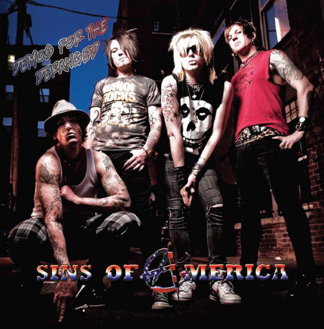 'Demos For The Deranged' CD from Rob Wylde U.S band Sins Of America, rockersandotheranimals