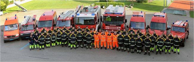 Feuerwehr BASSS mit Sanitätsdienst Reber (links im Bild)