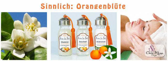 Naturkosmetik Karité Shea Butter Orangenblüte Shampoo Duschgel Bodylotion Sens du Sud Casa Mina Design