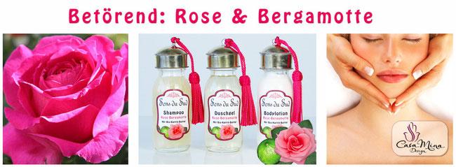 Naturkosmetik Karité Shea Butter Rose Bergamotte Shampoo Duschgel Bodylotion Sens du Sud Casa Mina Design