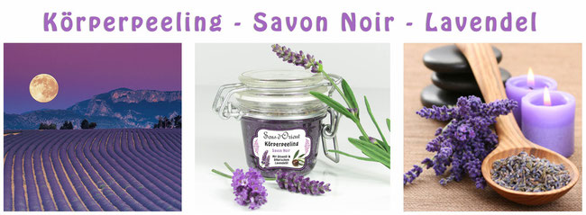 Naturkosmetik Körperpeeling Lavendel Savon Noir schwarze Seife