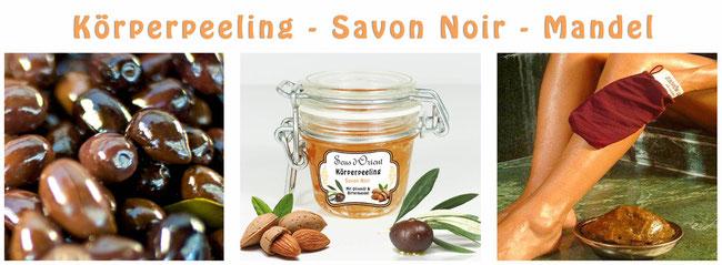 Naturkosmetik Körperpeeling Savon Noir Bittermandel Olivenöl Sens du Sud