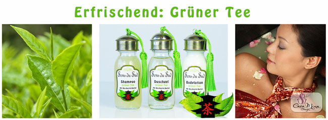 Naturkosmetik Karité Shea Butter Grüner Tee Shampoo Duschgel Bodylotion Sens du Sud Casa Mina Design
