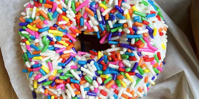 vegan rainbow sprinkle doughnut from voodoo doughnut in portland oregon
