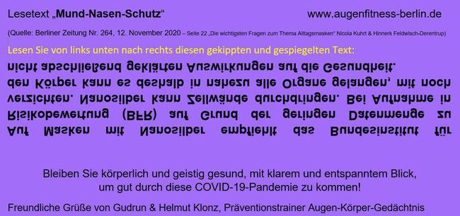 Leseübungstext gekippt (auf den Kopf gestellt) und gespiegelt von Gudrun Klonz