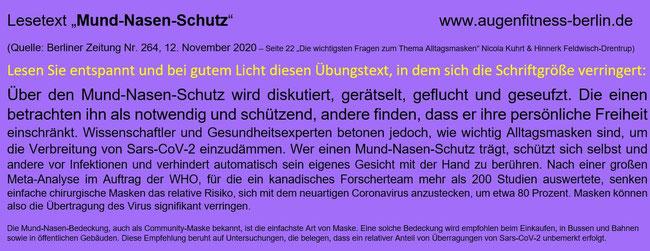 Mund-Nase-Schutz Lesetext Veränderung der Schriftgröße von Gudrun Klonz