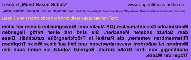 Leseübungstext gespiegelt von Gudrun Klonz