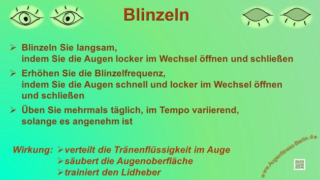 Blinzeln  - Augen auf - Augen zu, Augenfitness Übung, www.augenfitness-berlin.de