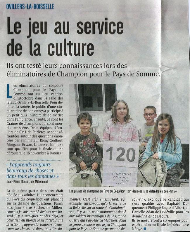 Soirée d'Ovillers La Boisselle - Article du Courrier Picard - Octobre 2018