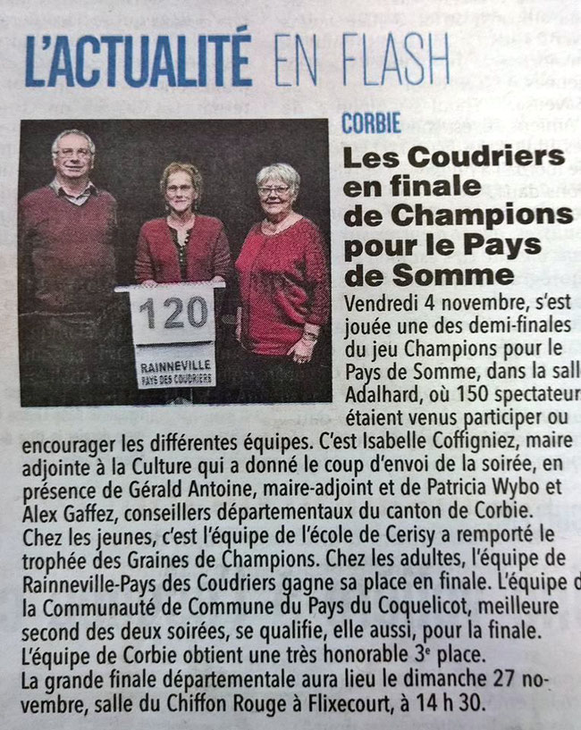 Demi-finale Corbie - Article du Courrier Picard - Novembre 2016