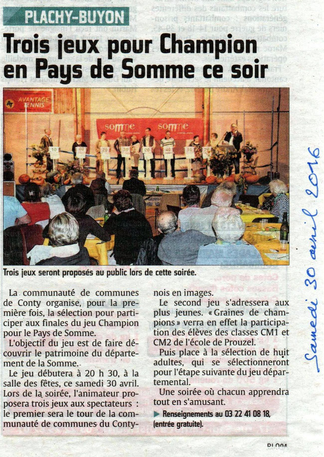 Soirée de Plachy-Buyon - Article du Courrier Picard - Avril 2016