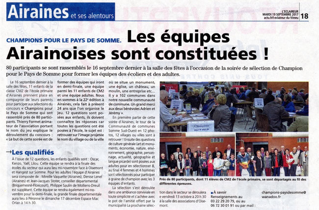 Soirée d'Airaines - Article de L'Eclaireur du Vimeu - Septembre 2017