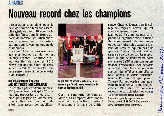 Assemblée générale - Article du Courrier Picard - Mars 2017
