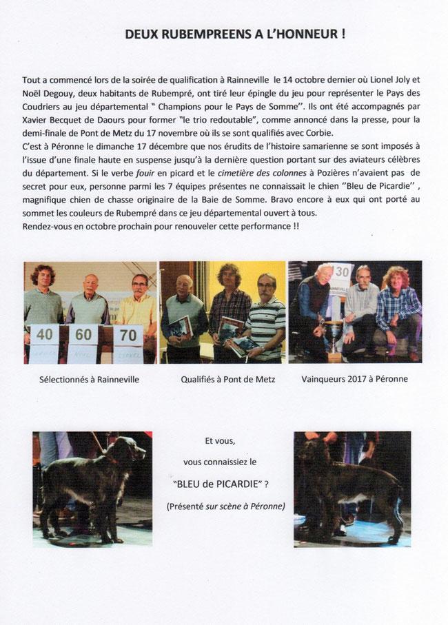 Article du bulletin municipal de Rubempré - Janvier 2018