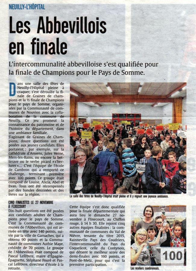 Demi-finale Neuilly l'Hôpital - Article du Courrier Picard - Novembre 2016