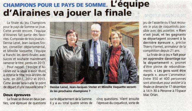 Finale de Péronne - Article de L'Eclaireur du Vimeu - Décembre 2017