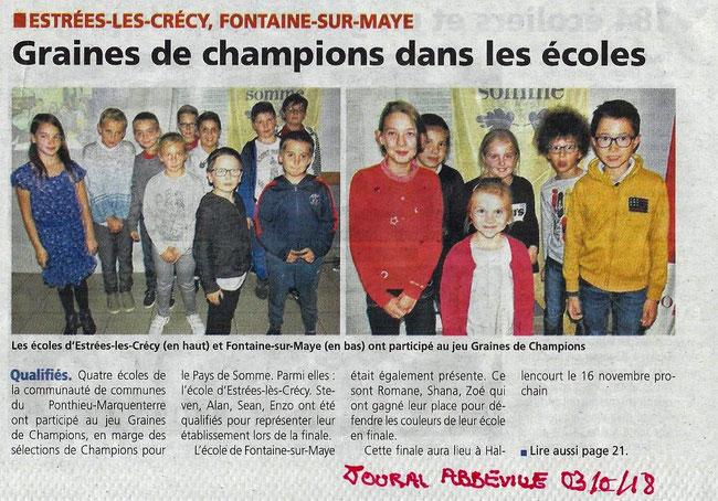 Soirée de Yaucourt-Bussus - Article du Journal d'Abbeville - Octobre 2018
