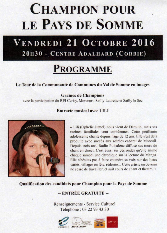 Soirée de Corbie - Tract - Octobre 2016