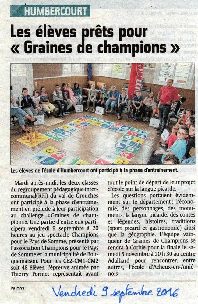 Soirée de Bouquemaison - Article du Courrier Picard - Septembre 2016