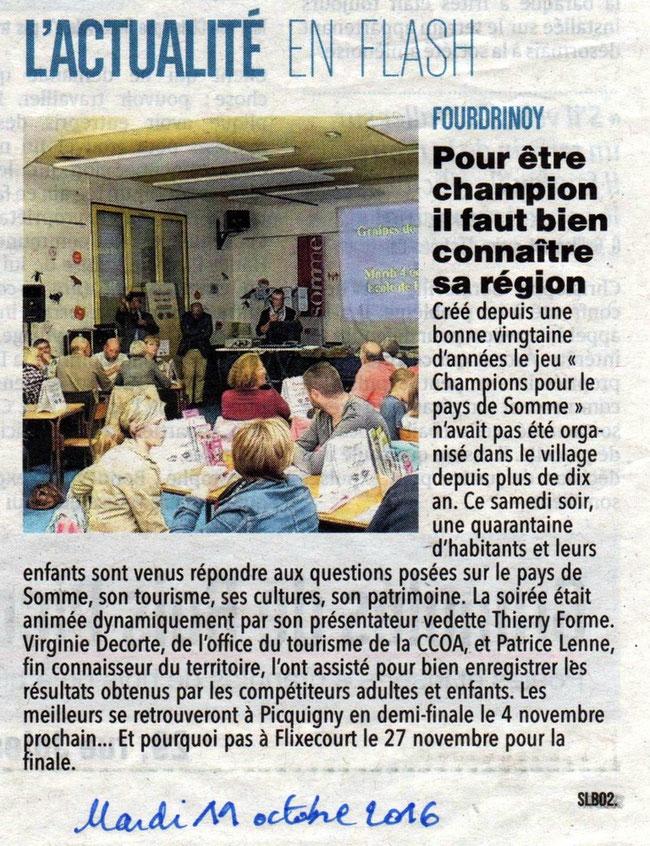 Soirée de Fourdrinoy - Article du Courrier Picard - Octobre 2016