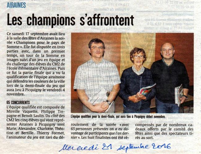 Soirée d'Airaines compte-rendu - Article du Courrier Picard - Septembre 2016