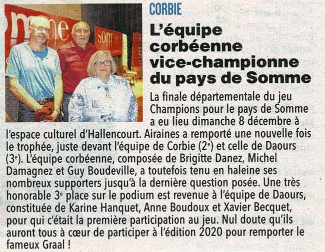 Finale d'Hallencourt - Article du Courrier Picard - 17 décembre 2019
