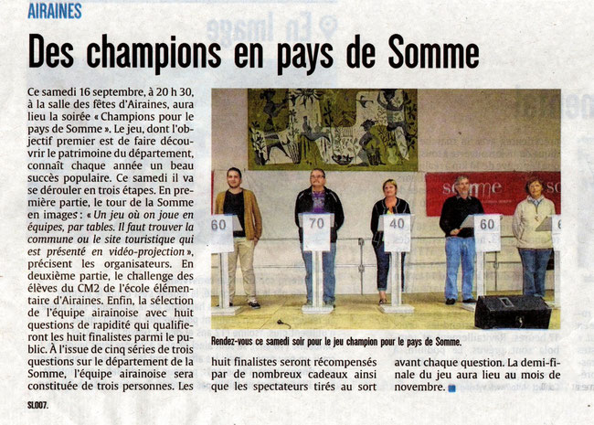 Soirée d'Airaines - Article du Courrier Picard - Septembre 2017