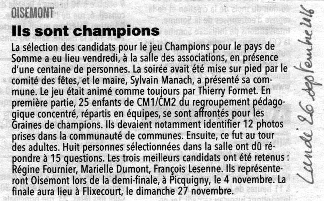Soirée de Oisemont - Article du Courrier Picard - Septembre 2016
