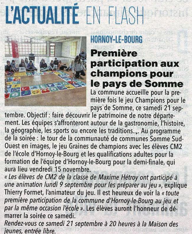 Soirée d'Hornoy le bourg - Article du Courrier Picard - 21 septembre 2019