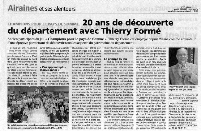 Assemblée générale d'Airaines - Article de l'Eclaireur du Vimeu - Mars 2016