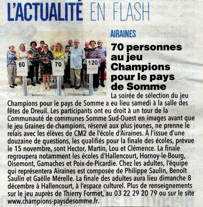 Soirée d'Airaines - Article du Courrier Picard - 18 septembre 2019