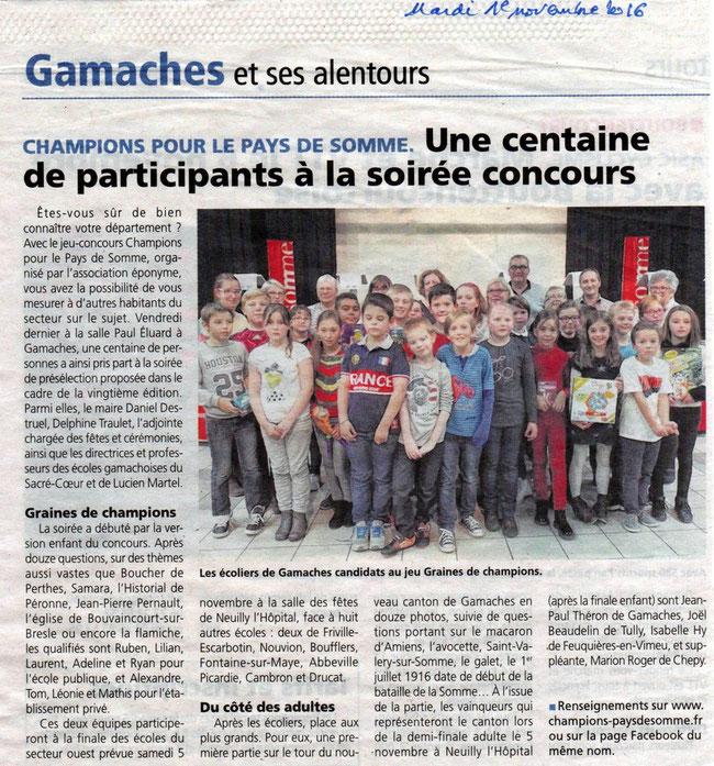 Soirée de Gamaches - Article de l'Eclaireur du Vimeu - Novembre 2016