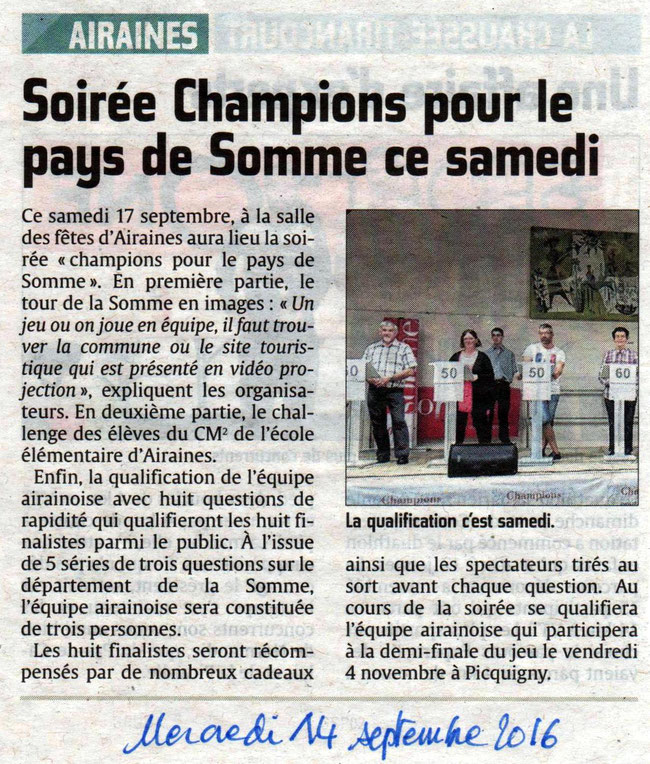 Soirée d'Airaines - Article du Courrier Picard - Septembre 2016